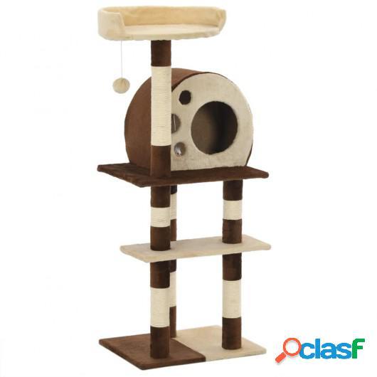 Rascador para gatos con postes de sisal 127 cm beige y