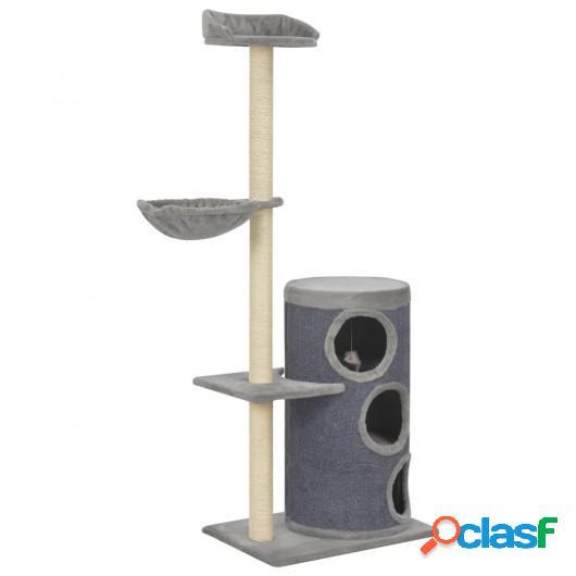 Rascador para gatos con postes de sisal 148 cm gris