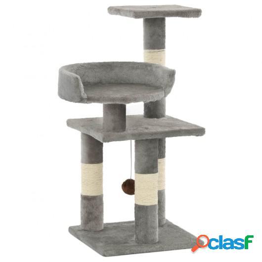 Rascador para gatos con postes de sisal 65 cm gris