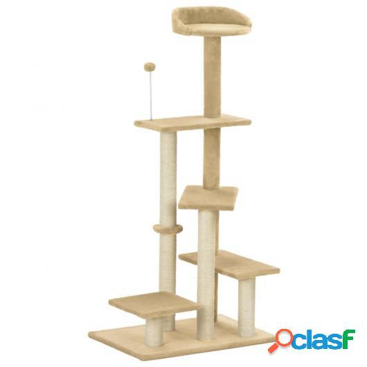 Rascador para gatos con postes de sisal beige 125 cm
