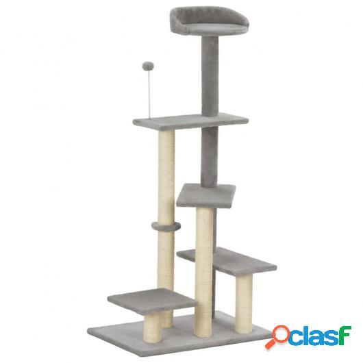 Rascador para gatos con postes de sisal gris 125 cm