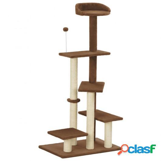 Rascador para gatos con postes de sisal marrón 125 cm