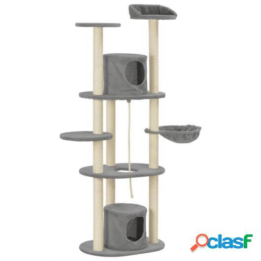 Rascador para gatos con postes rascadores de sisal gris 160
