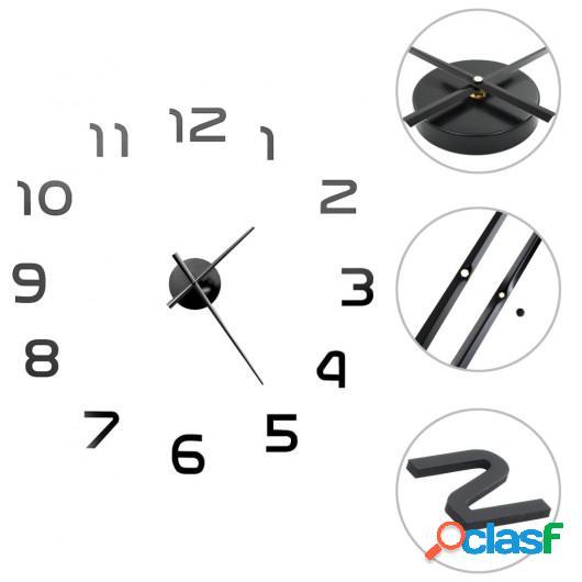 Reloj 3D de pared con diseño moderno 100 cm XXL negro