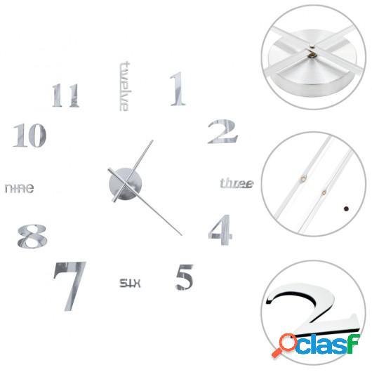 Reloj de pared 3D de diseño moderno 100 cm XXL plateado