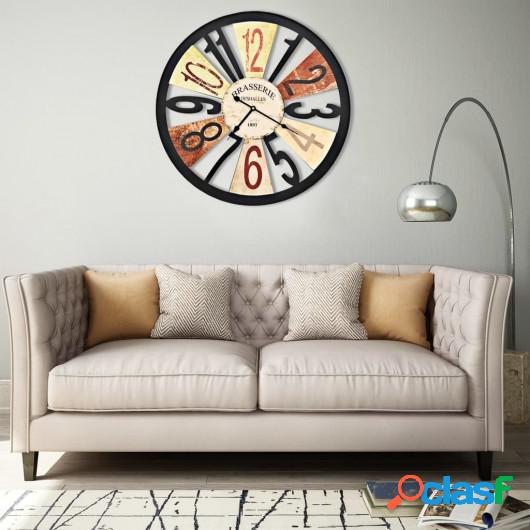 Reloj de pared de metal multicolor 60 cm