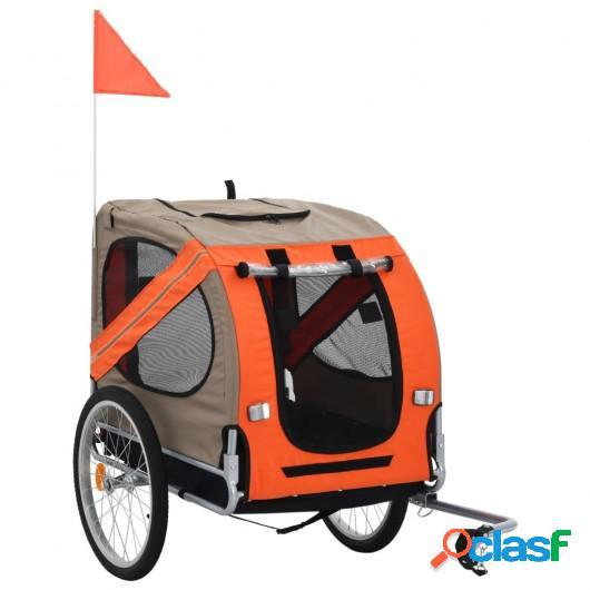 Remolque de bicicleta para perros naranja y marrón