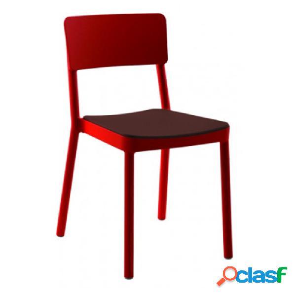 Resol - Pack de 4 sillas rojas con tapizado chocolate Lisboa
