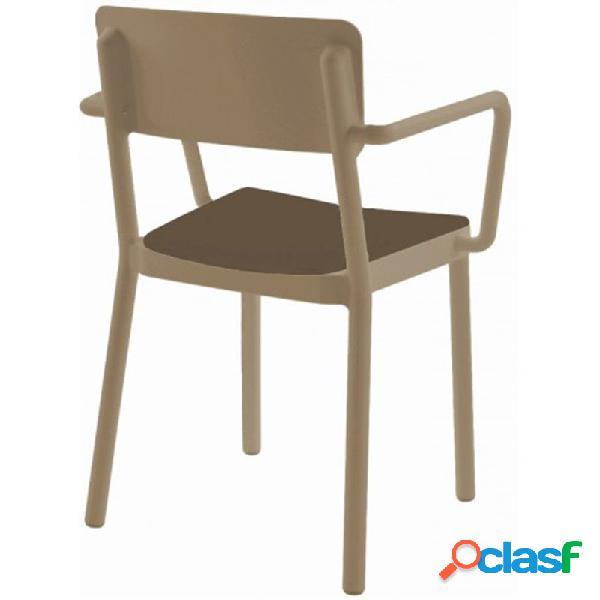 Resol - Set de 4 sillas arena con tapizado marrón Lisboa