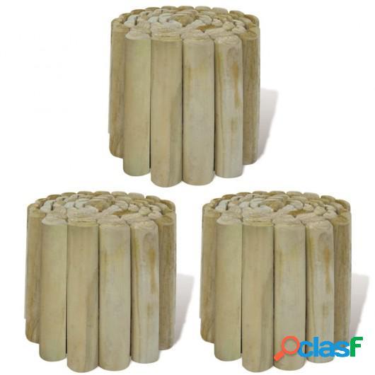 Rollo de troncos borde de jardín madera FSC 3 uds 250x20 cm