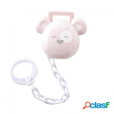 """Saro - Caja Portachupetes Con Cadena """"Happy Teddy"""" Rosa"""