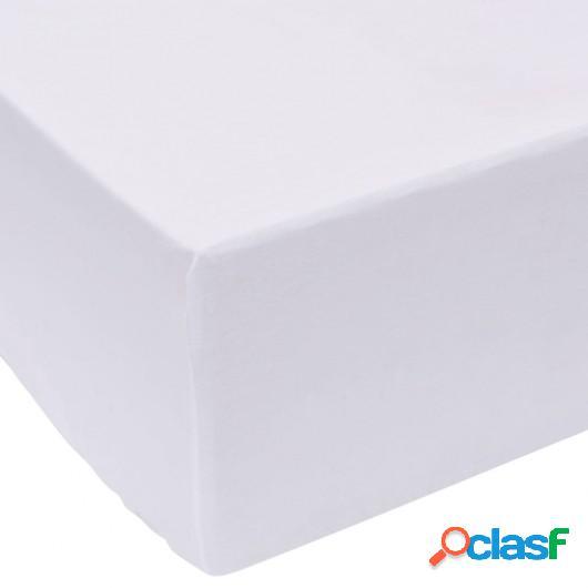 Sábana bajera 180x200 cm algodón blanca 2 unidades