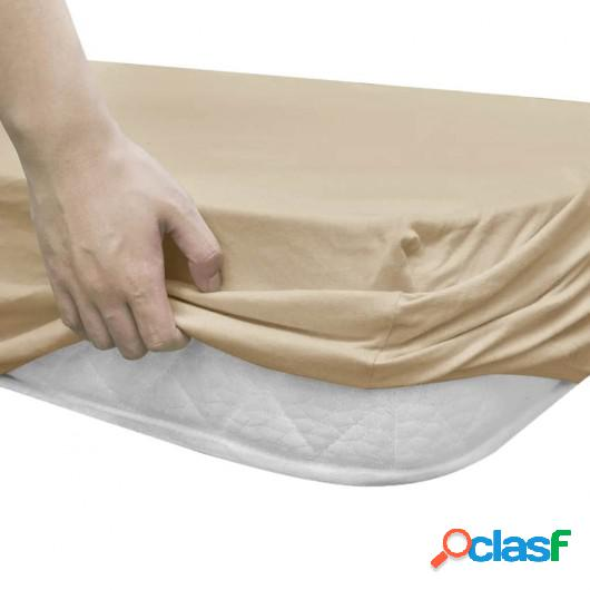 Sábana bajera para cama de agua 160x200 cm algodón beige 2