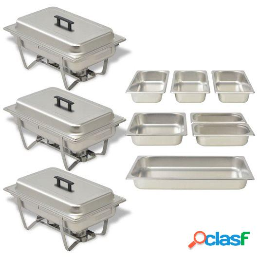 Set calentador de comida para buffet 3 piezas acero