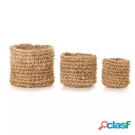 Set cestas almacenamiento 3 piezas hechas a mano yute