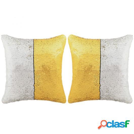 Set cojines con lentejuelas 2 unidades 60x60 cm dorado