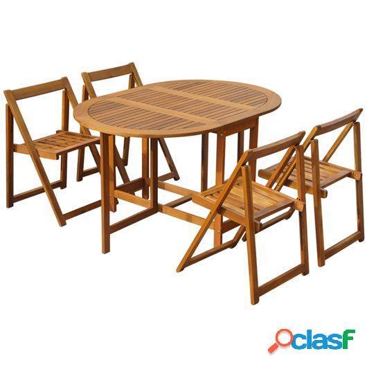 Set comedor de jardín plegable 5 piezas madera maciza de