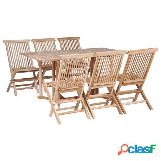Set comedor de jardín plegable 7 piezas madera maciza de