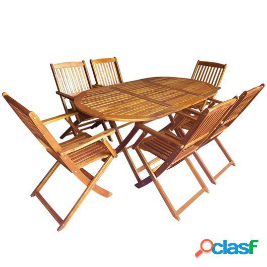Set comedor de jardín plegable 7 pzas madera maciza de