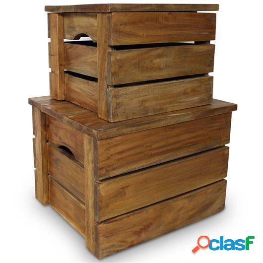 Set de 2 cajas de almacenaje de madera maciza reciclada