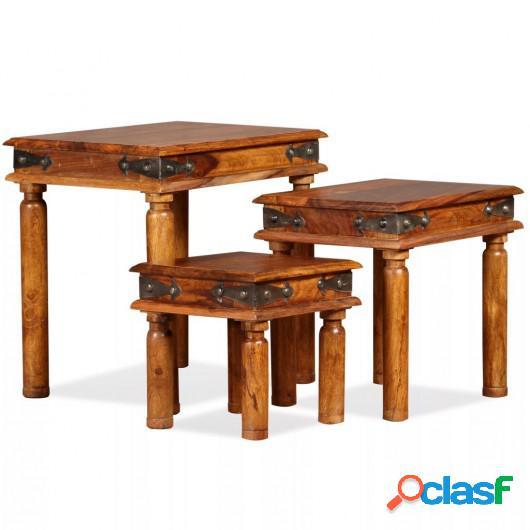 Set de 3 mesitas apilables de madera maciza de sheesham