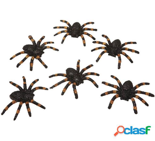 Set de 6 Arañas Brillantes de 6x7 cm