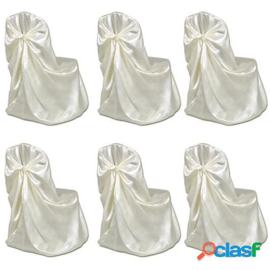 Set de 6 Fundas de color crema para sillas, banquetes y