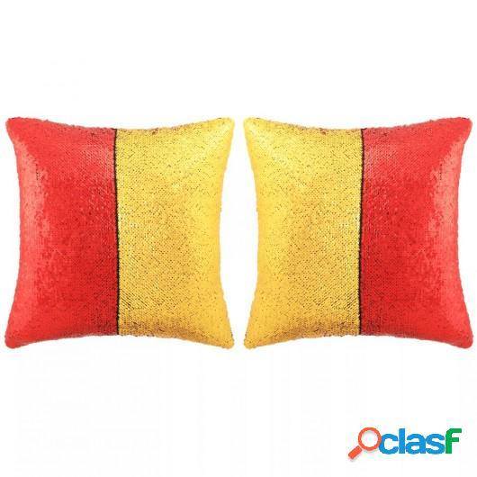 Set de cojines con lentejuelas 2 uds 60x60 cm rojo y dorado