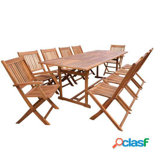 Set de comedor de jardín 11 piezas madera maciza de acacia