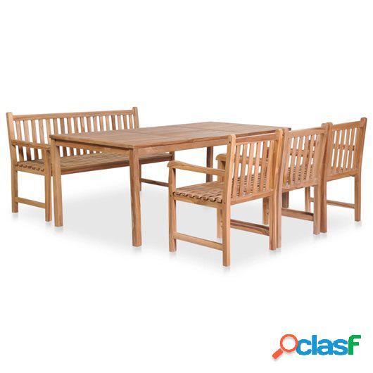 Set de comedor de jardín 5 piezas de madera maciza de teca