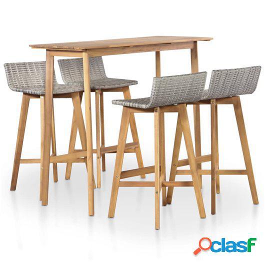 Set de comedor de jardín 5 piezas madera maciza de acacia