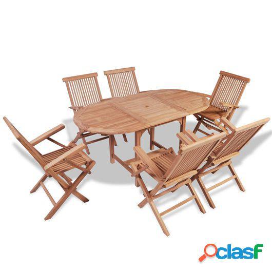 Set de comedor de jardín 7 piezas de madera maciza de teca