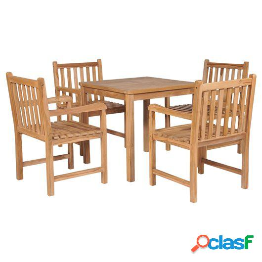 Set de comedor exterior 5 piezas de madera maciza de teca