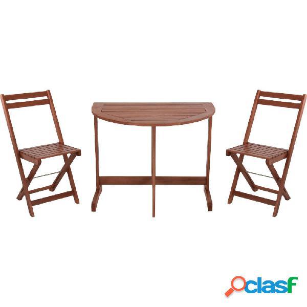 Set de mesa y dos sillas de madera de acacia