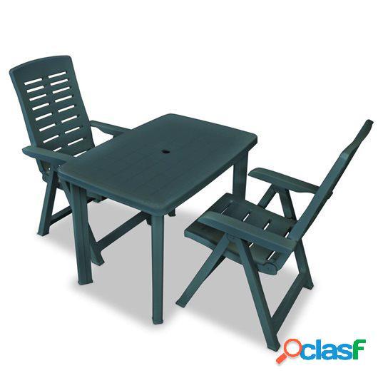 Set de mesa y sillas bistró de jardín 3 piezas plástico