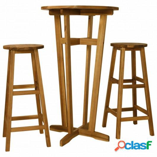 Set de mesa y sillas de bar 3 piezas madera maciza de acacia