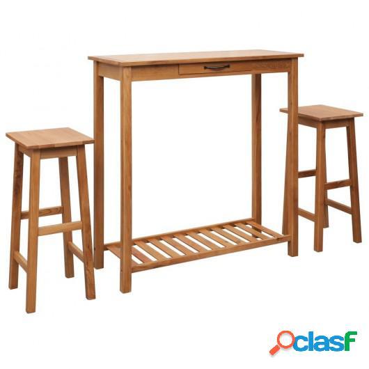 Set de mesa y sillas de bar 3 piezas madera maciza de roble