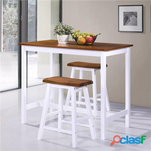 Set de mesa y taburete de bar 3 piezas madera maciza
