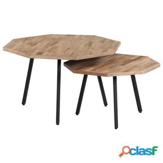 Set de mesas de centro 2 piezas madera teca reciclada