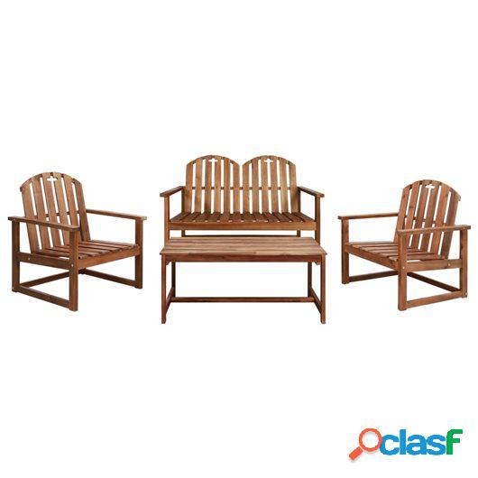 Set de muebles de jardín 4 piezas madera maciza de acacia