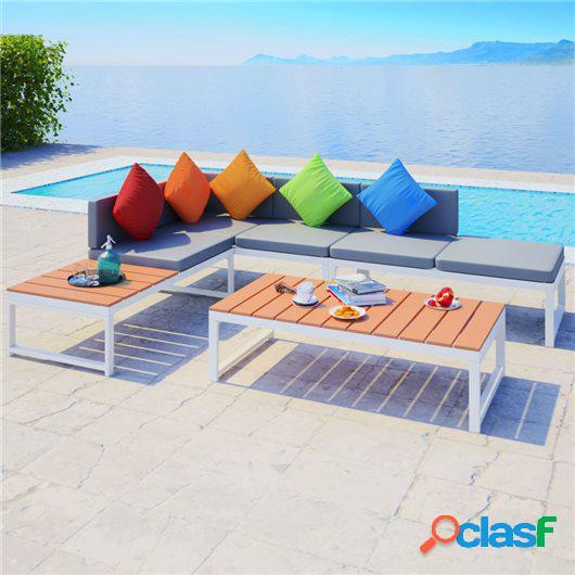 Set de muebles de jardín 4 piezas y cojines aluminio y WPC