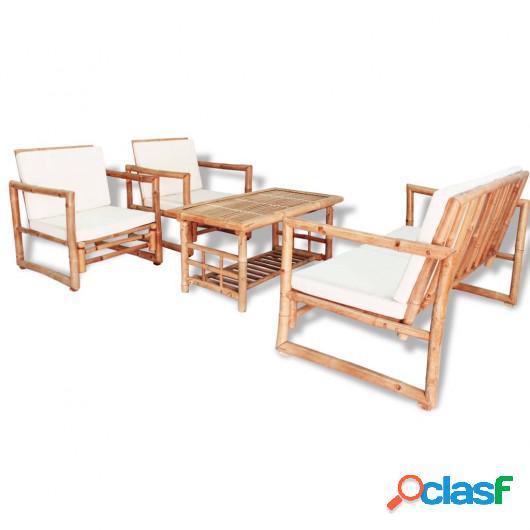Set de muebles de jardín 4 piezas y cojines bambú