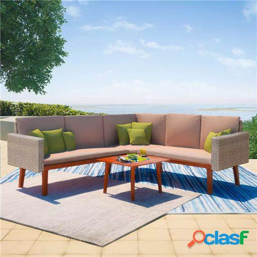 Set de muebles de jardín 4 piezas y cojines ratán PE gris