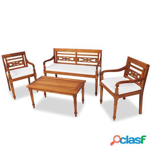 Set de muebles de jardín 4 pzas y cojines madera maciza de