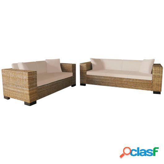 Set de sofás de 2 plazas y de 3 plazas ratán auténtico