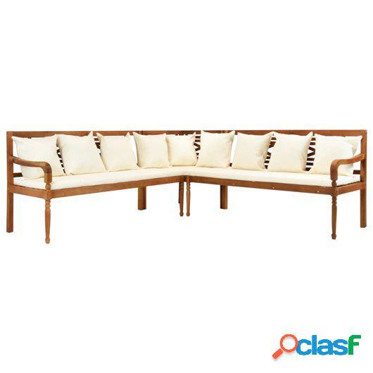 Set de sofás de jardín 3 piezas y cojines madera maciza