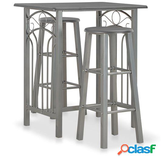 Set mesa y sillas altas de cocina 3 pzas madera acero