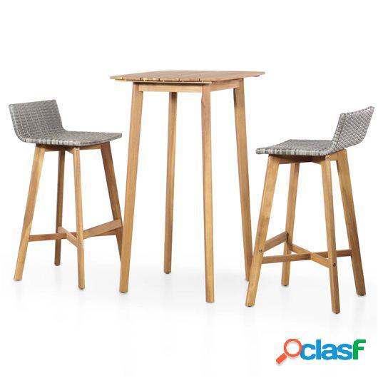 Set mesa y sillas bistró de jardín 3 pzas madera maciza