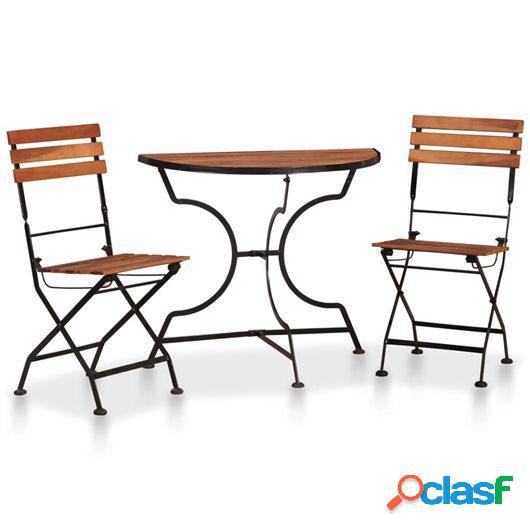 Set mesa y sillas bistro de jardín 3 pzas madera maciza