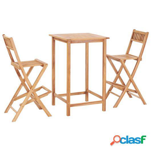 Set mesa y sillas de bar de jardín 3 pzas madera maciza